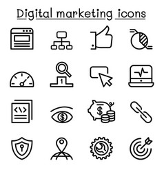 Digital marketing seo icon set in thin line style vector