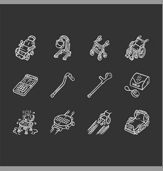 Disabled devices chalk icons set mobility aid vector