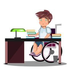 Disabled young man in wheelchair working vector