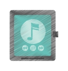 Drawing smartwatch music player app technology vector