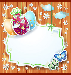 easter card with label and eggs on wooden vector image