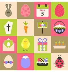 Easter flat stylized icon set 4 vector