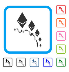 Ethereum deflation chart framed icon vector