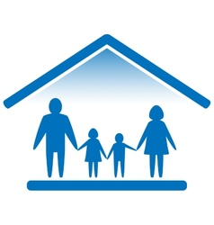 Family on home blue icon vector