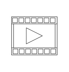 Film strip with play video button vector