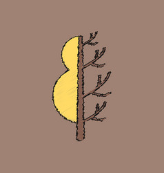 Flat shading style icon tree in winter and summer vector