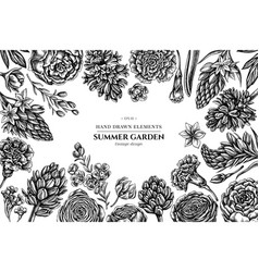 floral design with black and white peony vector image