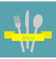 Fork spoon and knife yellow ribbon Menu Flat vector image
