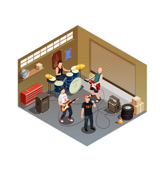 Garage band isometric composition vector