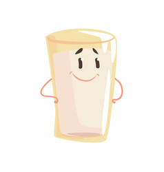Glass of milk cartoon character element for menu vector