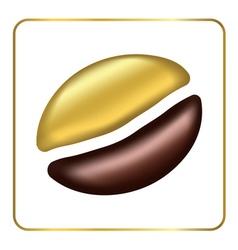Golden coffee bean singl vector image
