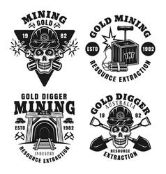 Goldminer company set four retro emblems vector