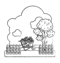 Grunge flowers inside wheelbarrow with trees and vector