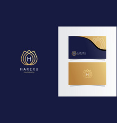 H flower gold luxury logo mark with business card vector