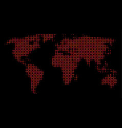 halftone red world map vector image