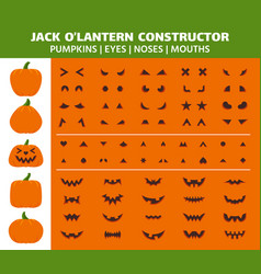 Halloween pumpkin simple color icons set vector