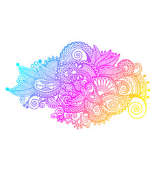 Hand drawing paisley design of rainbow flower vector