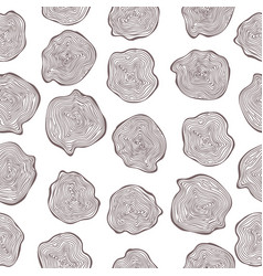 hand drawn seamless pattern of wood cuts circle vector image