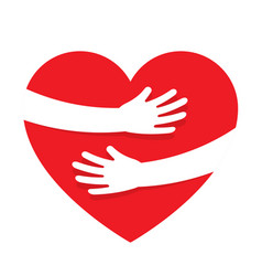 hands embracing red heart with love vector image