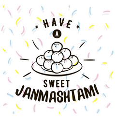 Happy janmashtami festival typographic design vector