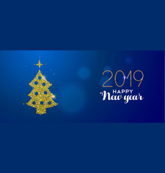 happy new year 2019 gold glitter pine tree card vector image