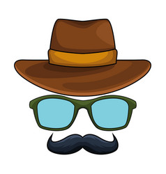 Hat glasses and moustache vector