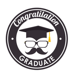 hat graduation with mustache and glasses vector image