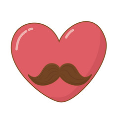 heart with moustache vector image