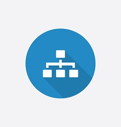 Hierarchy Flat Blue Simple Icon with long shadow vector