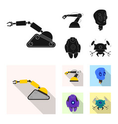 isolated object of robot and factory sign set of vector image