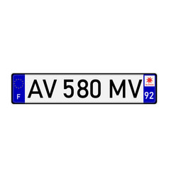 License plate number vector