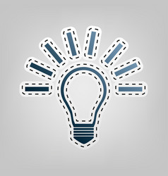 light lamp sign blue icon with outline vector image