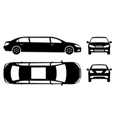 limousine pictograph side front back top view vector image