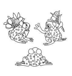Line cartoon animal clip art vector