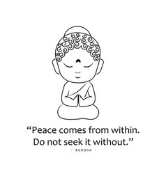 Little buddha with motivational quote vector