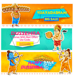lord rama and ten headed ravana for happy dussehra vector image