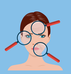 Magnifier magnifying woman vector