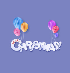 Merry christmas cut from paper vector