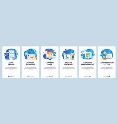 mobile app onboarding screens mobile app design vector image