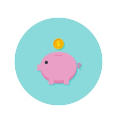 Money Pig with Dollar Coin Flat Icon vector
