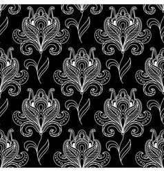 Monochrome paisley seamless floral pattern vector