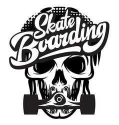 Monochrome with skate skull vector