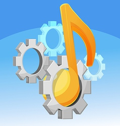 Music Note Gear Fixed vector image