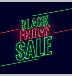 neon style black friday glowing sale background vector image