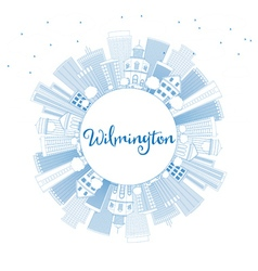 Outline Wilmington Skyline with Blue Buildings vector