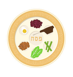 Passover holiday seder plate flat design icon vector