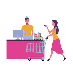 People shopping at supermarket vector