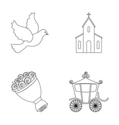 Pigeon church wedding bouquet carriage wedding vector