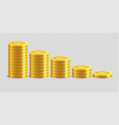 Piles of gold shiny coins placed from biggest vector