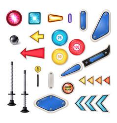 Pinball realistic elements set vector